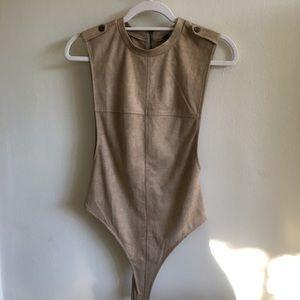 Other - Beige suede bodysuit